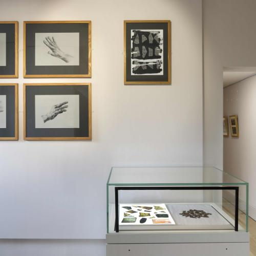 Preparatory work for the pieces exhibited displayed on the gallery wall