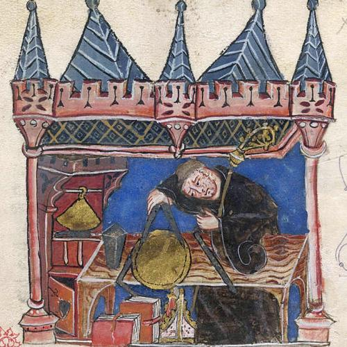 Richard of Wallingford seated at his desk measuring with a pair of compasses. © History of the Abbots of St Albans by Thomas of Walsingham.
