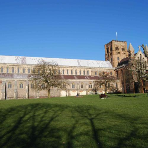 St Albans monastery's pale outlines of the original cloister bays. © Matt Sims
