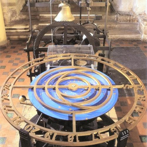 The Wallingford Clock in its previous location at St Albans Cathedral showing the star plate. © St Albans Cathedral.
