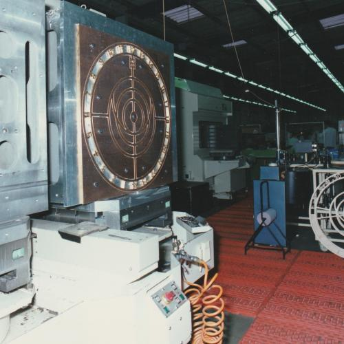 The metal clock face of the astronomical section being made in the 1990s. © St Albans Cathedral.
