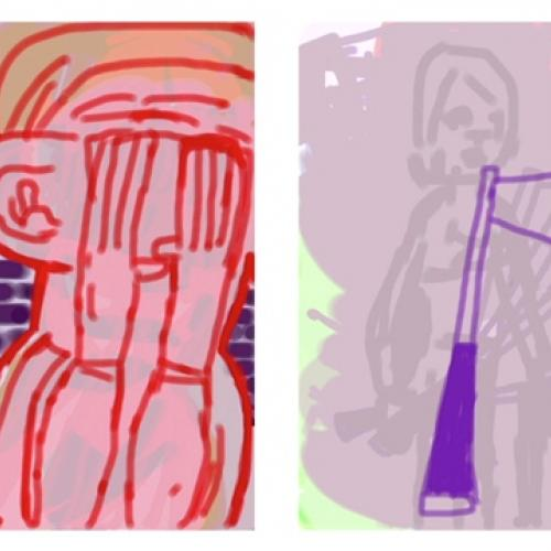 Amy Sillman Draft of a Voice-Over for a Split-Screen Video (still), 2012   © the artist. Courtesy the artist; Gladstone Gallery, New York and Brussels; Thomas Dane Gallery, London