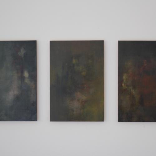 Grids, series of three abstract oil paintings