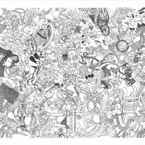 Tidy Your Room, detailed drawing with intricate figures