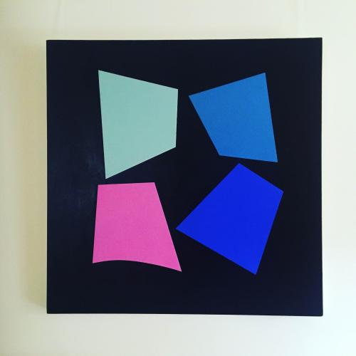 Good News Arriving, four colorful shapes on a black background