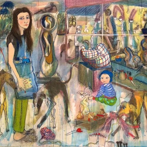Outside Theatre, painting with a profusion of figurative representations