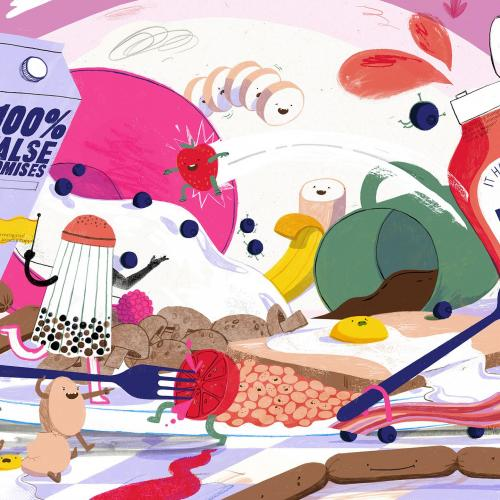 Breakfast Means Breakfast, colourful psychedelic painting of breakfast items