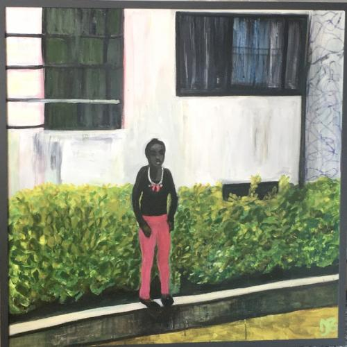 Gertie with the Pink Trousers, painting of a black woman standing in front of a bush with white house facade in the background