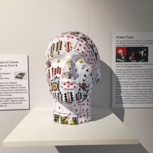 Manaquin head made of playing cards