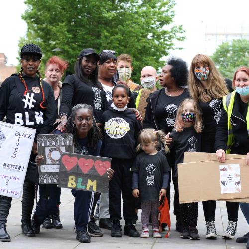 A group of Black Lives Matter protesters including children
