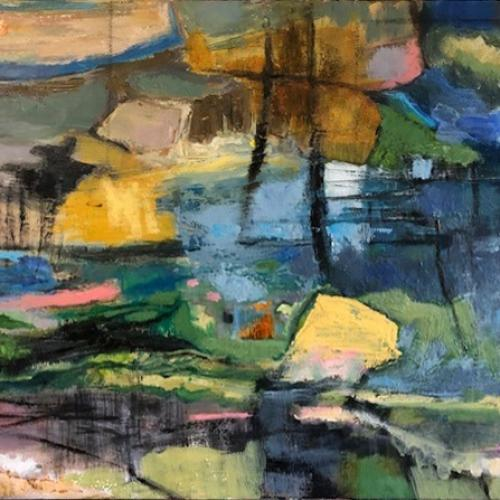 Creek, colourful abstract painting