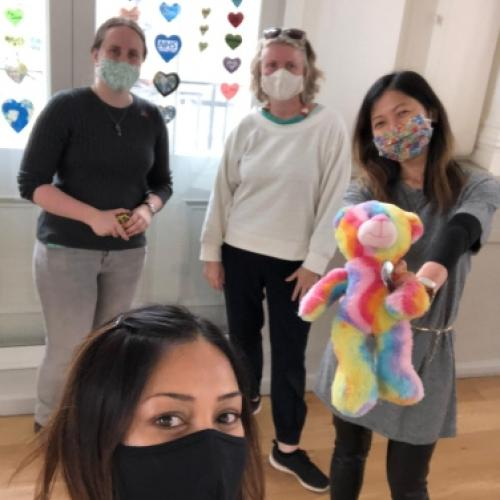 Joanne Ling and the Lockdown Life team with Rainbow Ted