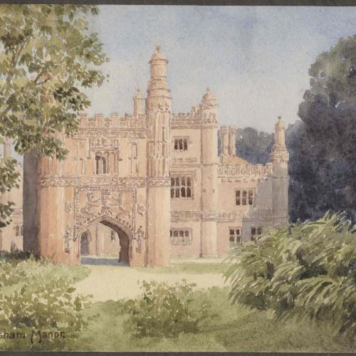 East Barsham Manor, a Tudor manor house near Barsham in Norfolk. Sir Edgar Thomas Ainger Wigram bart. (1864-1935) was mayor of St Albans in 1926.