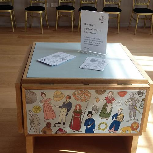 Learning Trolley in the Assembly Room with colouring sheets and craft to take away and do at home