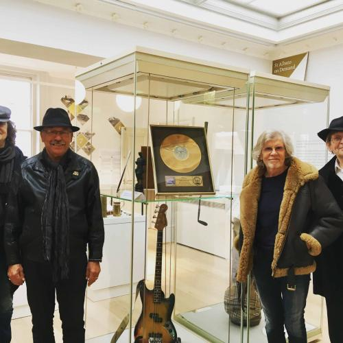 Jim Rodford's guitar and gold disc (with The Zombies visiting)