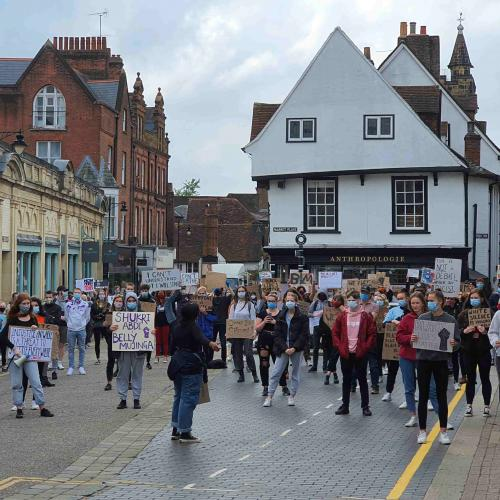 A Black Lives Matter protest in St Albans' Market Place