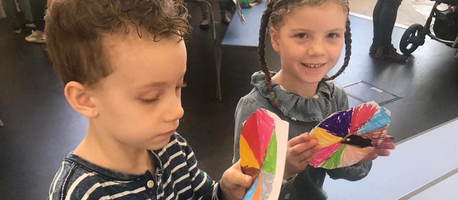 boy and a girl doing crafts