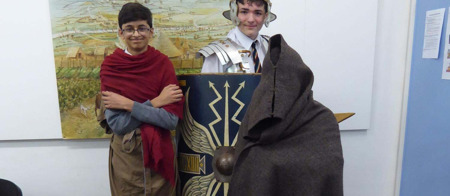 Students dressed as Romans at Verulamium Museum