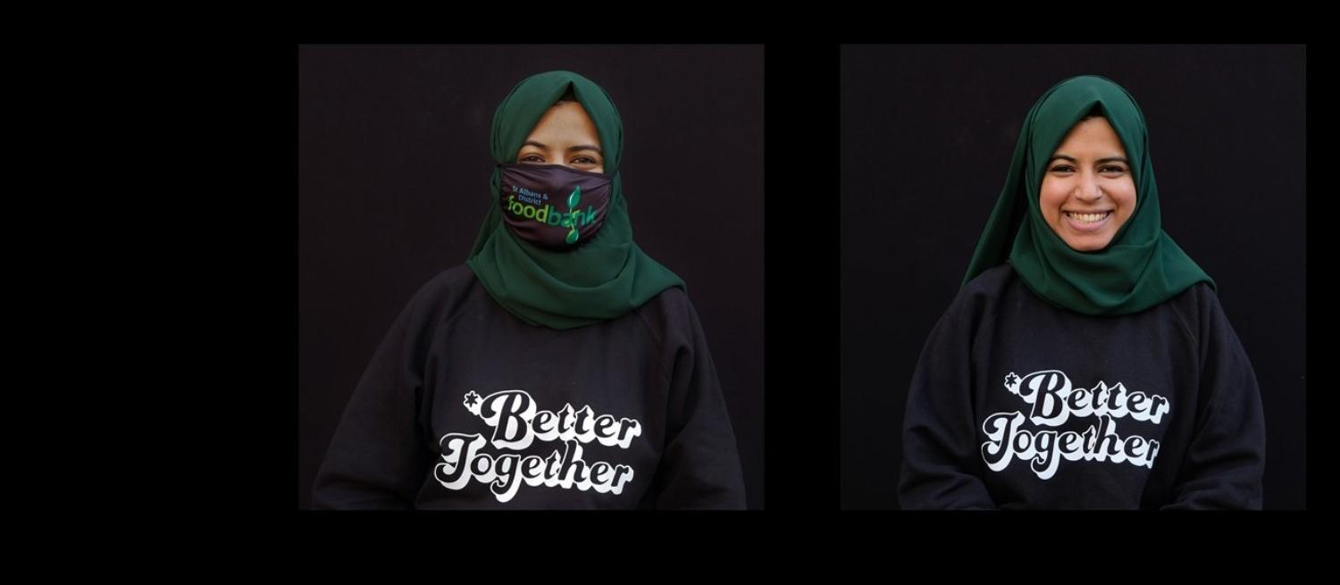 two portraits of a woman wearing a jumper saying Better Together with and without her foodbank facemask