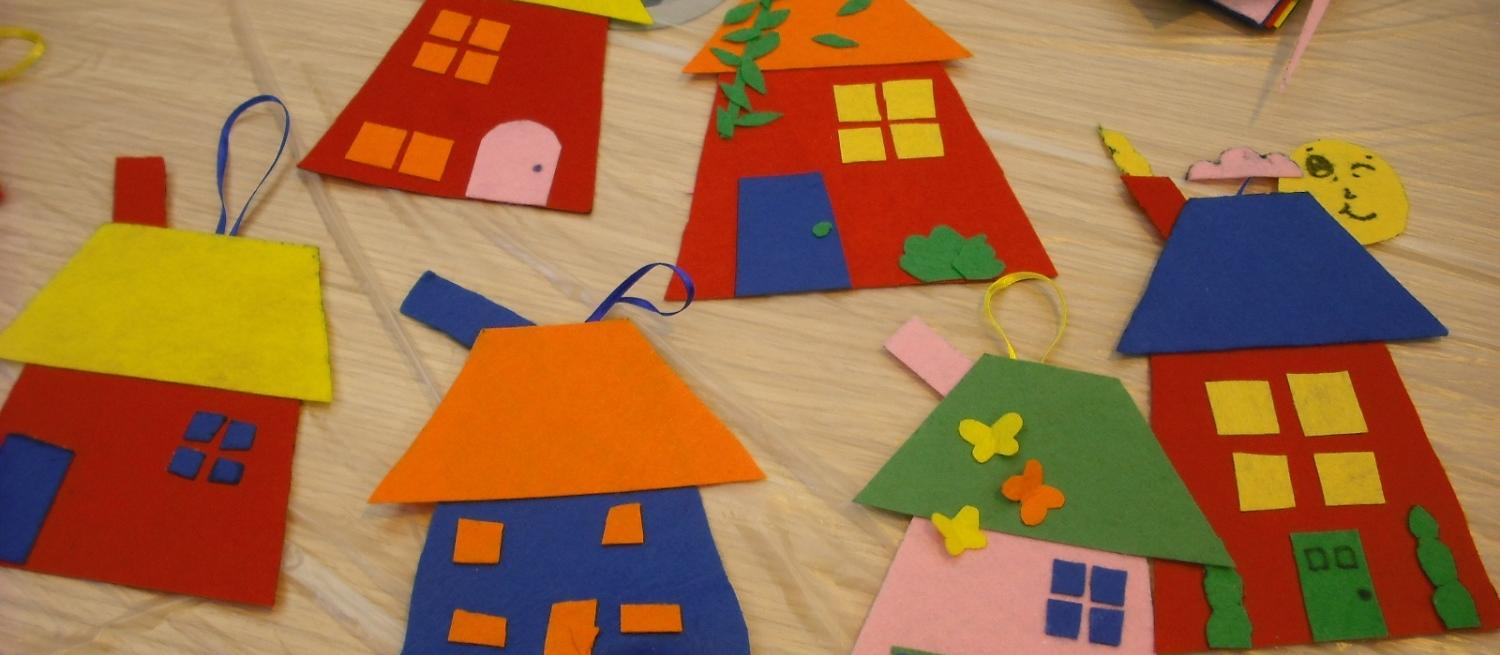 craft activity with houses