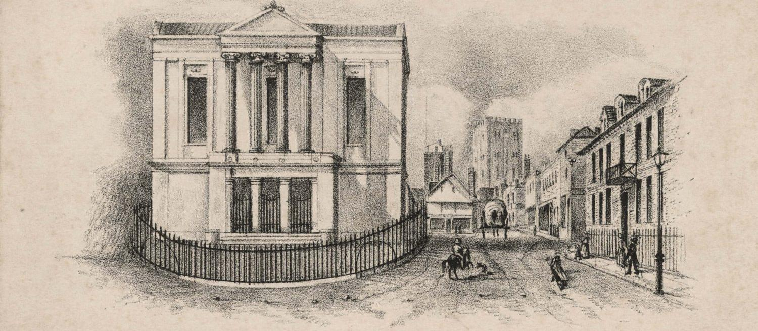 pencil sketch of St Albans Town Hall