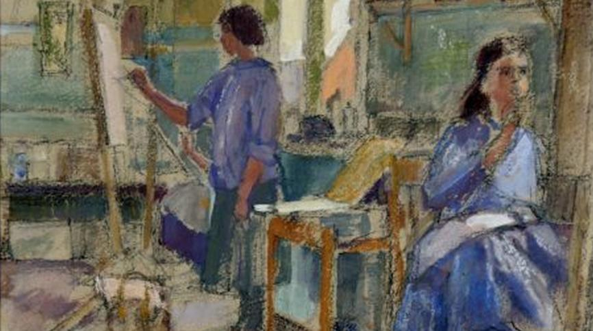 """Students at St Albans School of Art"" by M. Field, watercolour, 1957"