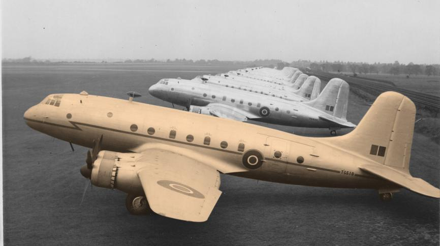 Photo of Hastings aircraft with gold filter