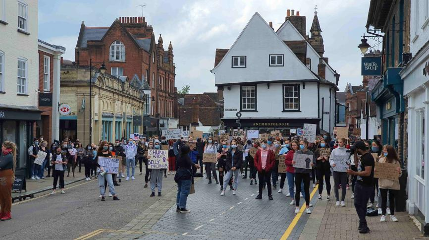 Protest in the Market Place, St Albans (12 June 2020)