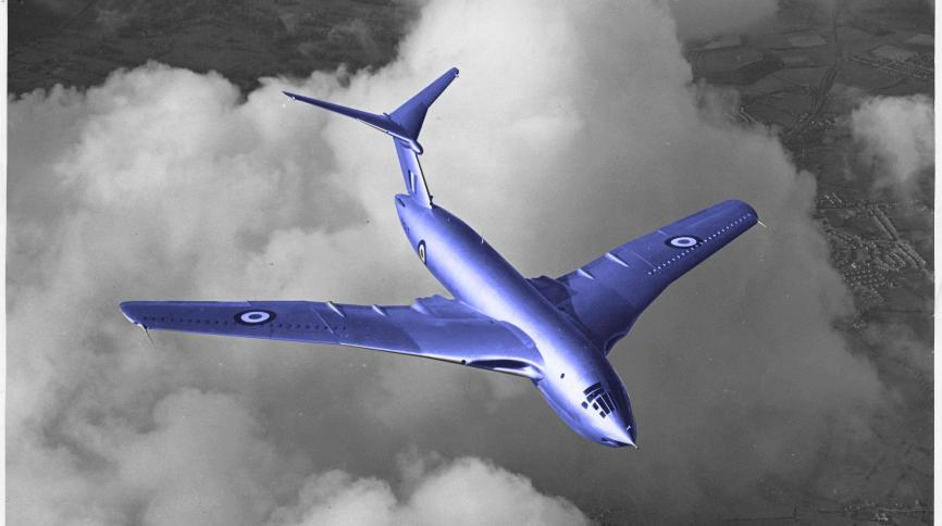 Image of Victor aircraft with blue filter