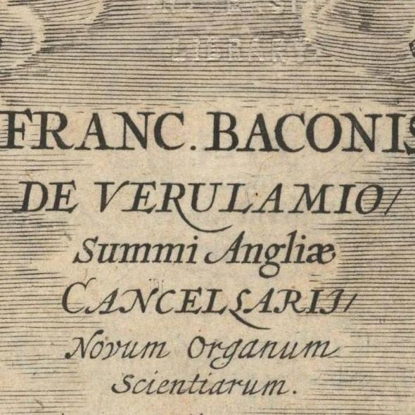 Upper part of the title page of Novum Organum