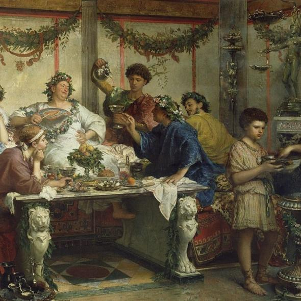 Painting called A Roman Feast by artist Robert Bompiani