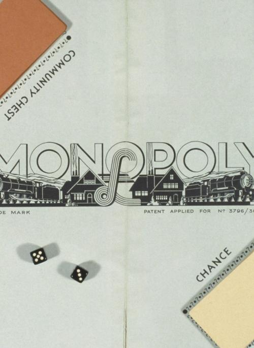 overhead view of the Monopoly board game