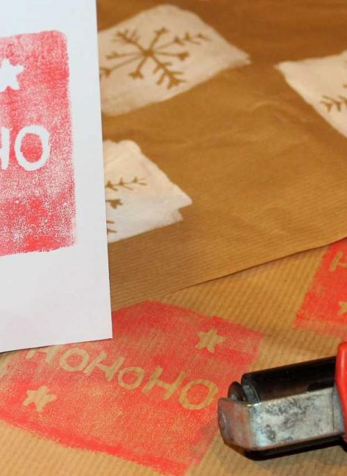 handmade printed cards and roller
