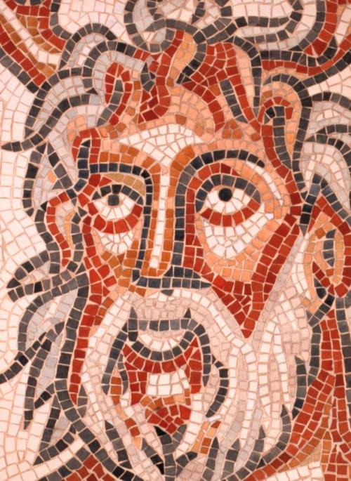 Mosaic of a Roman Sea God, dispalyed at Verulamium Museum