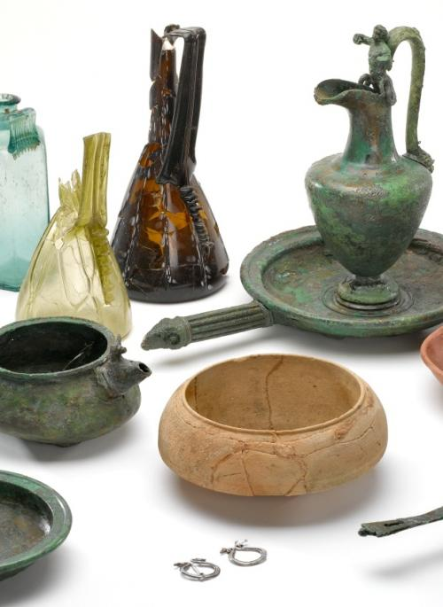Selection of Roman glass and pottery